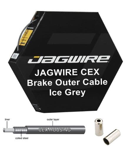 JAGWIRE CEX Grey 5mm Bike Brake Outer Cable Housing Polymer Lined - Metal Ends